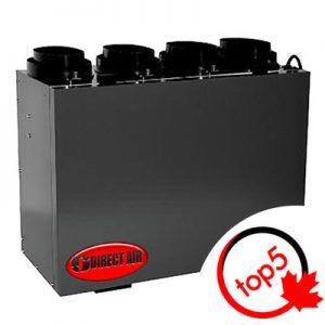 L'échangeur d'air de type VRC compact de DIRECT AIR modèle PHRVR 104 est suffisamment puissant pour votre logement ou votre condo et assez petit pour être installé dans un placard.